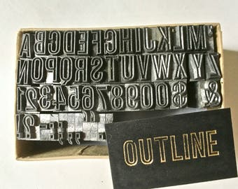Vintage Letterpress Type 24pt Outline for Stamping Printing and Clay Stamping