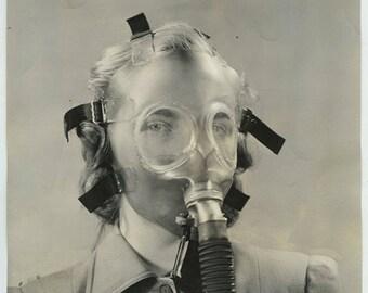 Original 1941 Photo Woman Modeling transparent gas mask strange odd unique photo