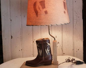 Vintage Cowboy Boot Lamp with Horse Lampshade - Mid-Century Western Style Table Lamp - 1950s Ranch Decor - Star Cowboy Boot