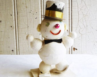 Vintage White Mica Glittered Snowman on Skis - Large Cardboard Snowman - 1950s Putz Display - Kitschmas - Kitschy Christmas Decoration