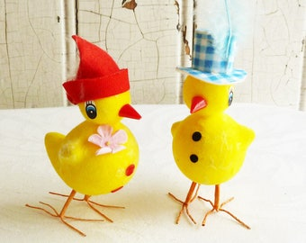 Two Vintage Flocked Foam Easter Chicks with Feather Hats - Mid-Century Anthropomorphic Pair of Chicks - Kitschy 1960s Easter Decoration