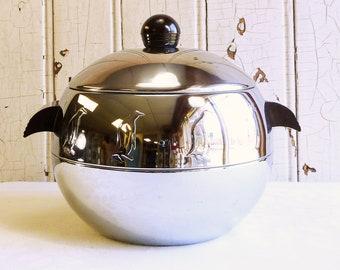 Mid-Century West Bend Penguin Ice Bucket with Bakelite Handles - Chrome Hot & Cold Server - 1960s Ice Bucket - Mid-Century Barware