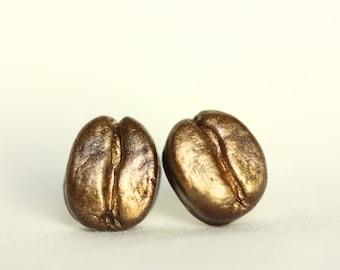 Coffee Bean Earrings /Golden