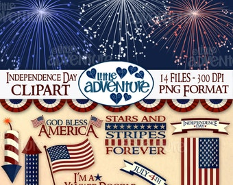 independance day digital clipart 14 files digitalprintableinstant download 1 zip file