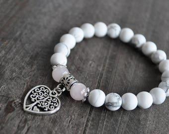 Bracelet coeur - Pierres naturelles - Bracelet blanc - Coco Matcha