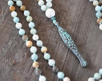 Collier de pierre - Amazonite - Poisson - Patina - Verdigris - Boho jewelry - Collier été - Coco Matcha
