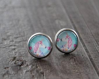 Clous d'oreille - Licorne - Mint - Rose - Rêve - Unicorn - Bijou coloré - Coco Matcha