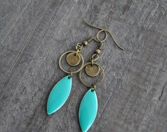 Boucles d'oreilles pendantes - Boucles d'oreilles marquises - Menthe - Noir - Aqua - Jaune - Bijou bohème - Coco Matcha