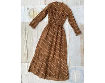c951d471d0e56 Antique 1800's Brown Leaf Print Cotton Dress, Floor Length Long Sleeve, Work  Wear / Prairie / Primitive AAFA, Calico, Civil War Era Women's