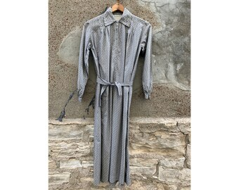 4e198d984d5 Antique Early Vintage 1800 s 1900 s Grey Cotton Calico Dress Long Sleeve