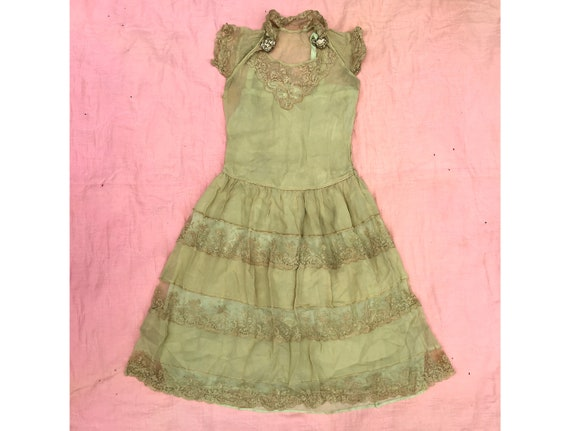 9454ec8ca Vintage 1920 s Light Cyanide Green Lace and Chiffon Dress