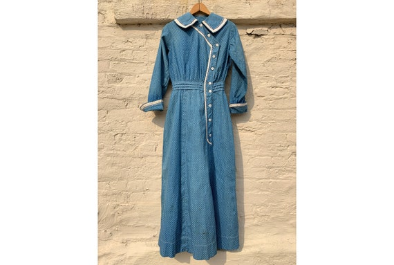 Antique Late 1800's Early 1900's Blue Calico Dress