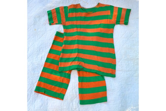 e0c503552 Vintage 1920 s Orange and Green Striped Two Piece Jersey