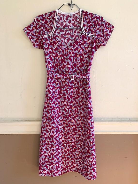 Vintage 1930's 1940's Floral Purple Day Dress, Wo… - image 4