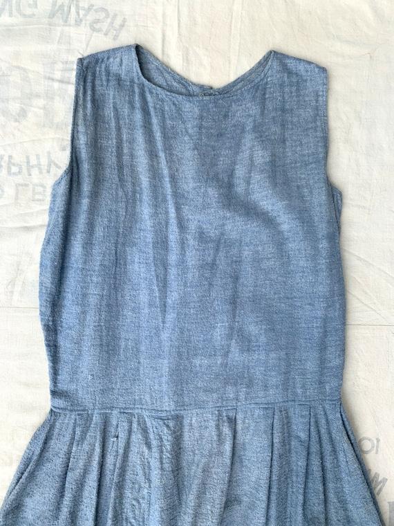 Antique Early Vintage 1920's 1930's Blue Cotton F… - image 5