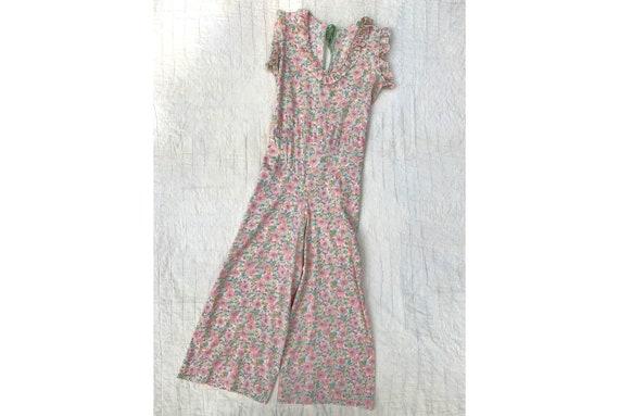 Vintage 1930's Floral Cotton Beach Pajamas, Soft P