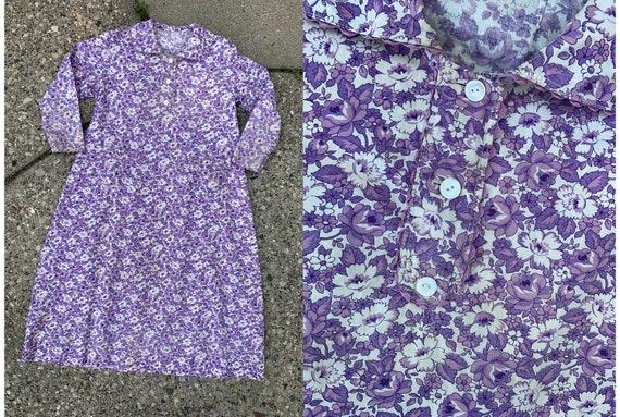 Vintage 1930's 1940's Purple Floral Feedsack Cotto