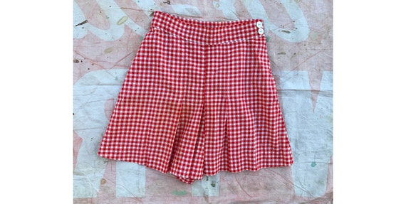 Vintage 1930's Depression Era White and Red Check