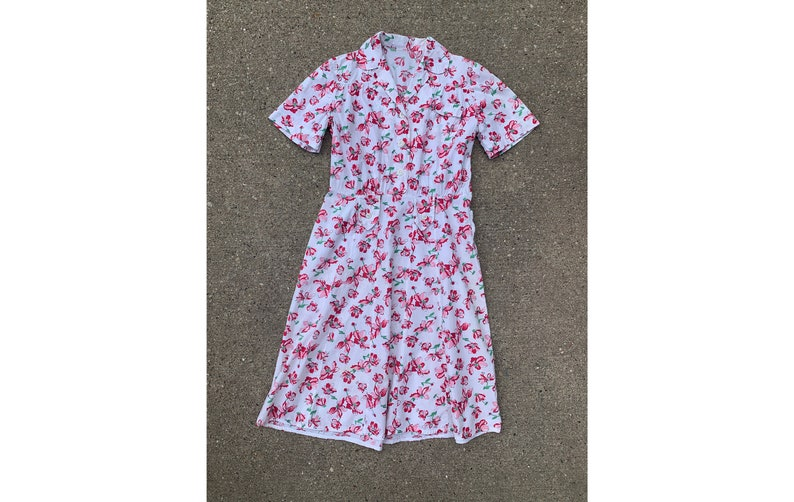 Summer 30/'s 40/'s Short Sleeve Women/'s Vintage Late 1930/'s 1940/'s Cotton Floral Button Up Day Dress