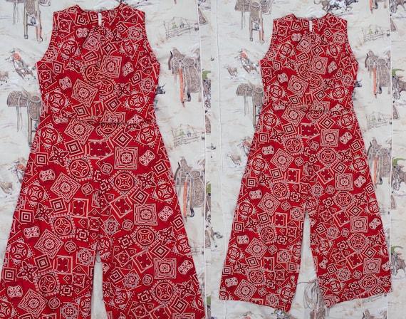 ccaf490f0 Vintage 1950 s Red Handkerchief Print Western Romper