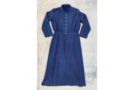 Antique 1890s 1900s Blue Calico Floor Length Dress