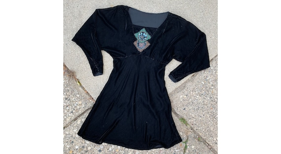 e13bf7f81 Vintage 1930 s Black Velvet Beaded Long Sleeve Dress