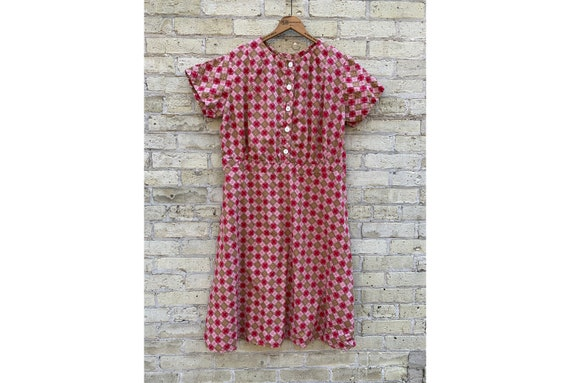 Vintage 1930's 1940's Red Plaid Feed Sack Dress, H