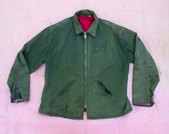 Vintage 1940's 1950's TALON Big Zipper Distressed // Thrashed Work Jacket , Work Wear , Green with Red Quilting , Men's 40's Jacket