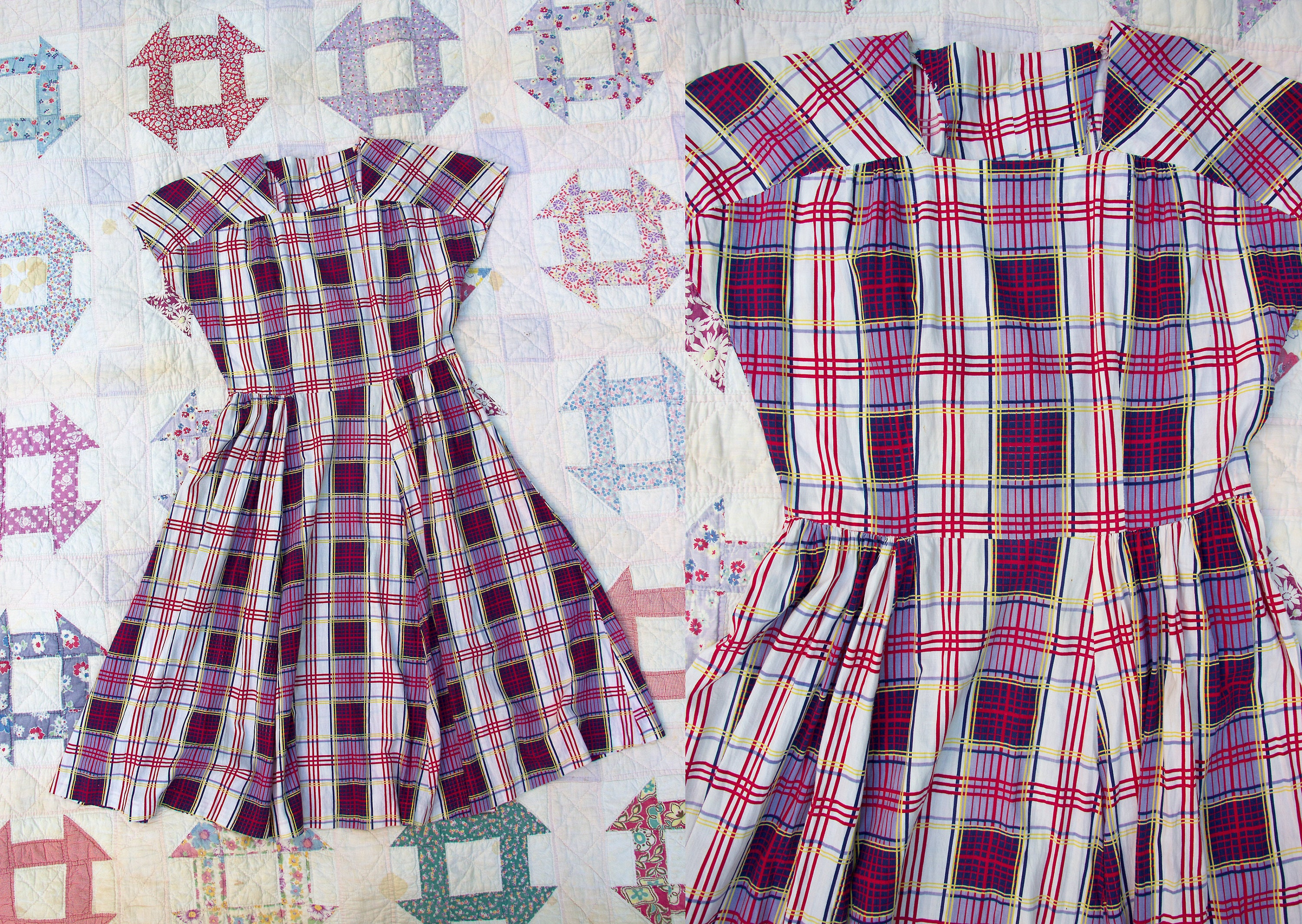a83f1c00d Vintage 1930 s 1940 s Plaid Hand Made Cotton Dress