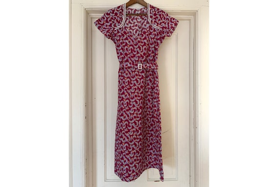 Vintage 1930's 1940's Floral Purple Day Dress, Wom