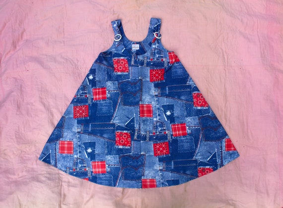 5410f19e9 Vintage 1960 s MOD Patchwork Denim and Handkerchief Dress