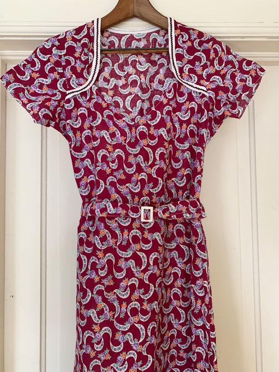 Vintage 1930's 1940's Floral Purple Day Dress, Wo… - image 3
