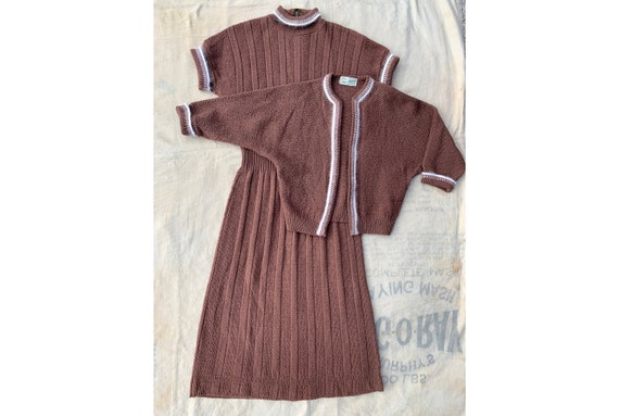 Vintage 1940's 1950's Brown Zephyr Wool and Angora