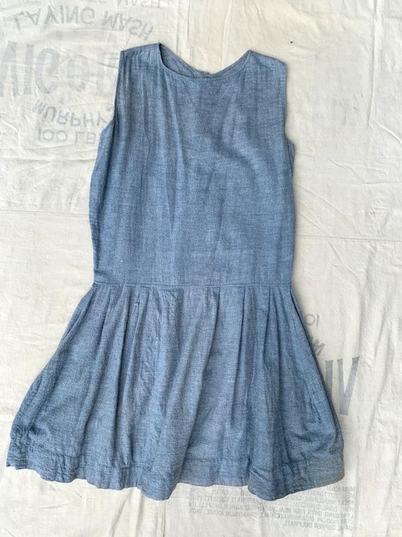 Antique Early Vintage 1920's 1930's Blue Cotton F… - image 4