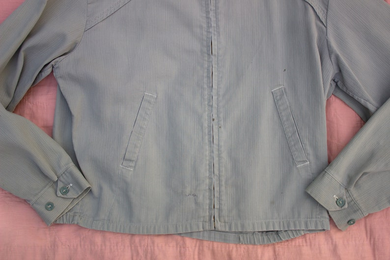 50/'s Work Wear Conmatic Zipper Vintage 1950/'s Grey Blue Zip Up Ricky Jacket Unisex Adults Outerwear Made in USA