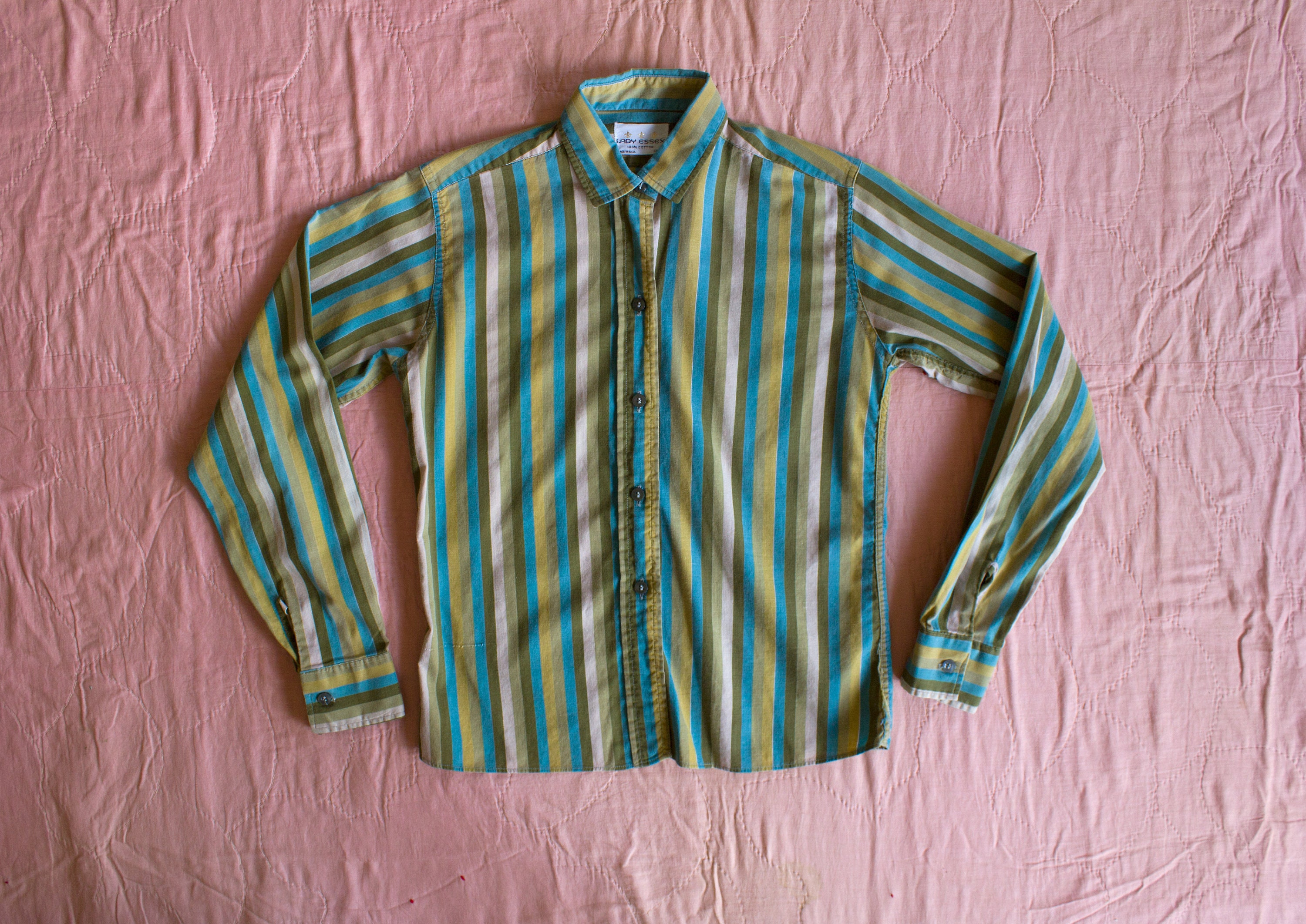 27b2fdde5 Vintage 1950 s 1960 s Striped Long Sleeve Button Up