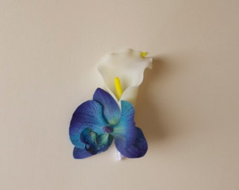 Real Touch Calla Lily and Orchid Boutonniere Blue and White