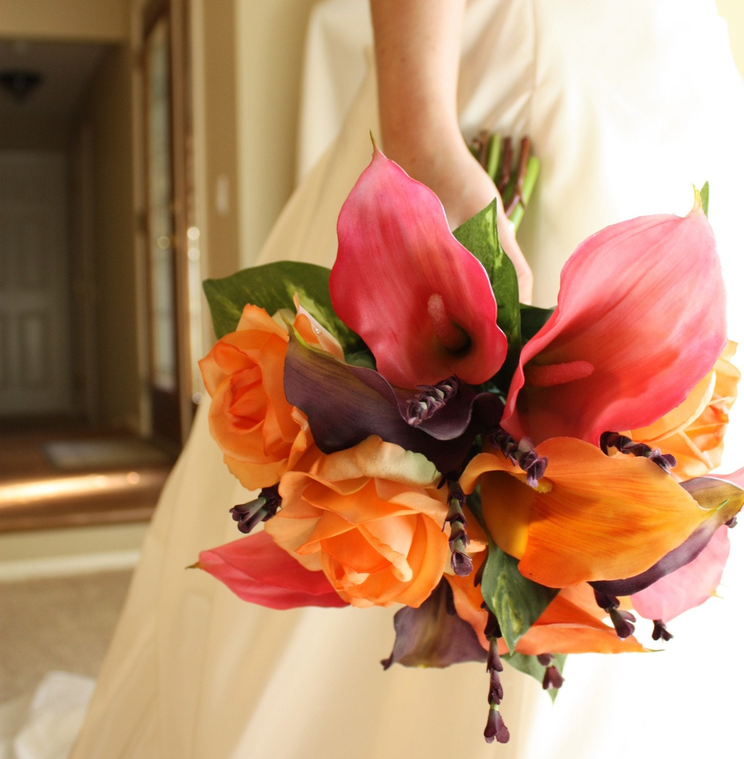 Fall Wedding Flowers List: Calla Lily Bouquet: Real Touch Pink Orange Purple Summer