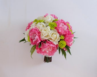 Large Hot Pink Peony Bouquet with Button Mums, 13'', (Bright Pink, Ivory, Green, Chartreuse) Peony Wedding Bouquet
