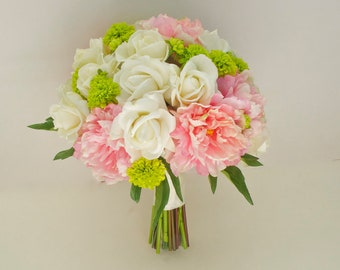 Large Peony Bouquet with Button Mums, 14'', (Pink, Ivory, Green, Chartreuse) Real Touch Peony Wedding Bouquet