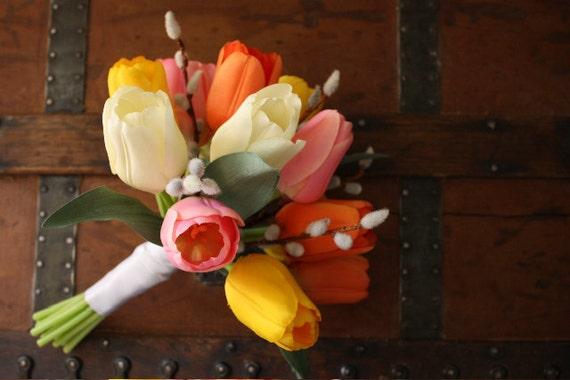 Tulip wedding bouquet silk bouquet spring wedding bouquet etsy image 0 mightylinksfo