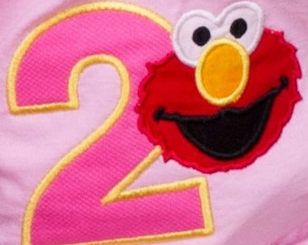 Elmo birthday applique on  toddler t-shirt with personalization/Elmo t-shirt/Elmo shirt/Elmo todder t-shirt/ Personalized Elmo t-shirt