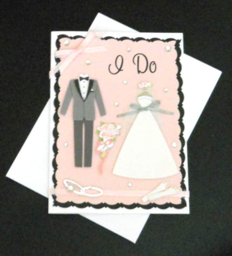 Groom White Silver Bridal Bouquet Gloves Rings Black Marriage Pink Dress Gray Wedding I Do Blank Greeting Card Bride Tuxedo
