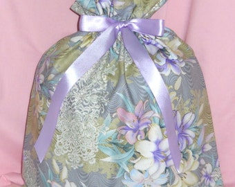 Easter Lilies Large Fabric Gift Bag - Lily, Flowers, Floral, Lace, Purple, Lavender, Pink, Blue, Green, White, Gray, Beige, Gold, Glitter