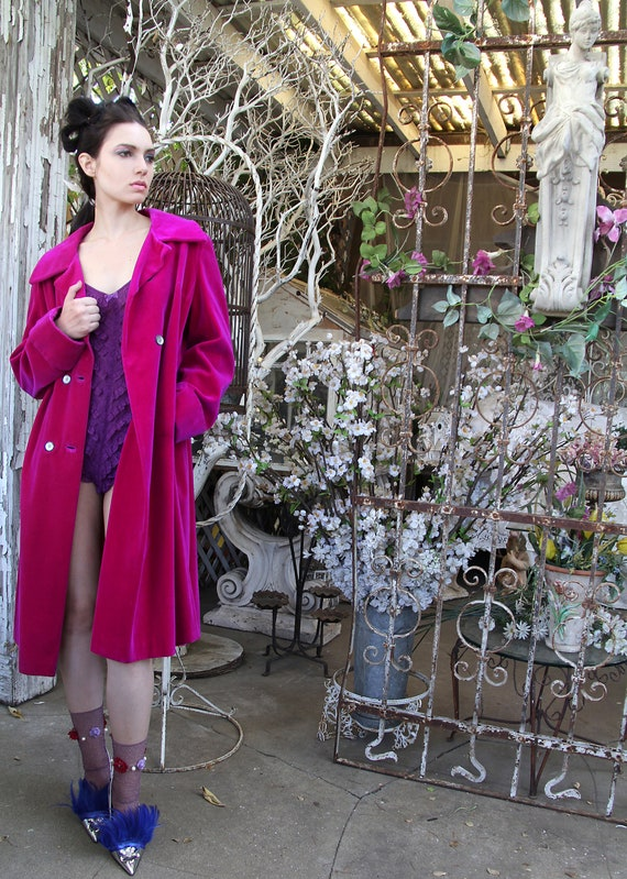 Vintage 1960's 60's Velveteen Fuchsia Coat Iridescent Purple Heu  // Tati Tati Style On Etsy by Etsy