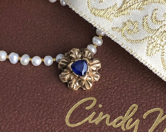 Historically Inspired Sapphire and  bronze pendant necklace