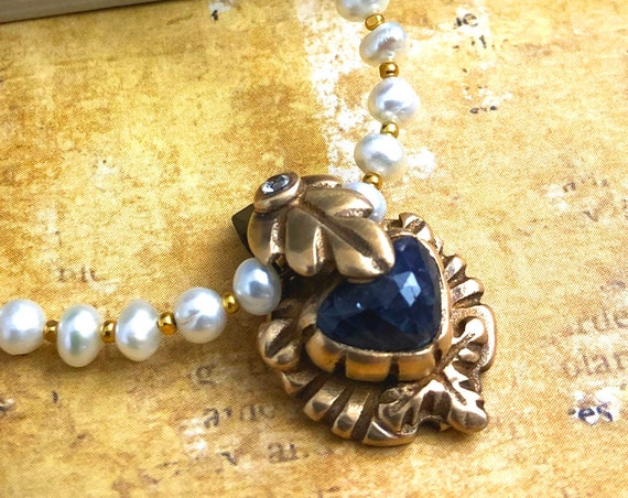 Historically Inspired Iolite and bronze pendant necklace