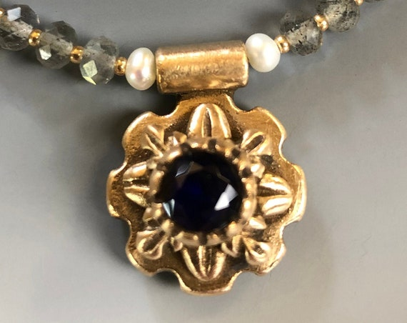 Historically Inspired Carved Bronze and Sapphire Necklace