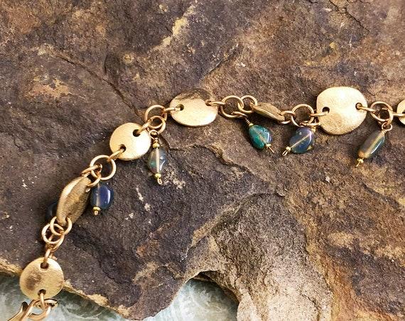 Bronze disc links bracelet with Opal drops