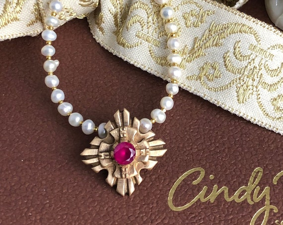 Historically Inspired Ruby and  bronze pendant necklace